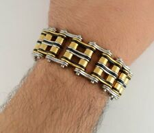 "NEW 1"" WIDE GENTS CHAIN BRACELET 10"" TRICOLOR GOLD BLACK SILVER BIKER MOTORCYCLE"