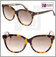GUCCI 0081 Oversized Crystal Havana Brown Gradient Sunglasses GG0081SK Women