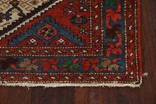 Antique Pre-1900 Geometric Ivory Bidjar Runner Rug Wool Hand-Knotted 3x11 ft.