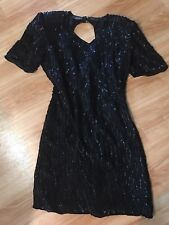 Mark & John 100% Silk Ladies Black Sequin Dress Sz Large