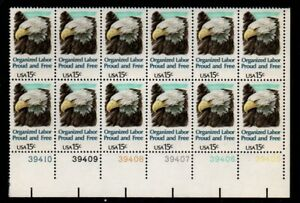 ALLY'S STAMPS US Plate Block Scott #1831 15c Organized Labor [12] MNH F/VF [A]