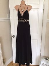 Pearce Fonda Black With Gold/pearl Sequins  Maxi Dress Size 10 Hols 5/6 To 15/6