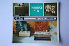 Sammlungsauflösung altes Prospekt RFT radio phono television Perfekt 406 !!!