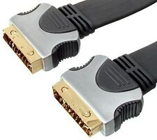 NEW 5M OXYGEN FREE COPPER SCART FLAT CABLE GOLD PLATED PLUGS & CONTACTS