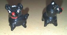 Two Lampwork Glass Dog Beads, All Black Dogs - Scotties!