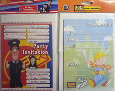 BBC 20 x A5 Party Invitations and envelopes  Bob the Builder or Postman Pat