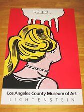 """ROY LICHTENSTEIN EXHIBITION POSTER """" hello """" LOS ANGELES ART MUSEUM VINTAGE MINT"""