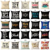 """18"""" Vintage words Cotton Linen Pillow Case Sofa Throw Cushion Cover Home Decor"""