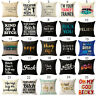 "18"" Vintage words Cotton Linen Pillow Case Sofa Throw Cushion Cover Home Decor"
