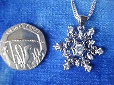 """Copo de Nieve Colgante Collar de piedras preciosas de plata 925 - 16"""" 'congelado' Style-Reino Unido Vendedor"""