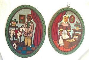 Pair of Antique/Vintage Hand Painted Folk Art Wood Wall Plaques - Boy & Girl