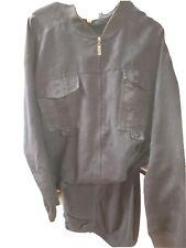 Men's *Prestige* Black Leather 2 Pc Shirt and Pants Casual Dress Set XXL/38