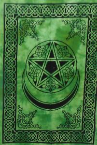 Tapestry Green Wall Hanging Home Decor Moon And Star Bohemian Poster Mandela