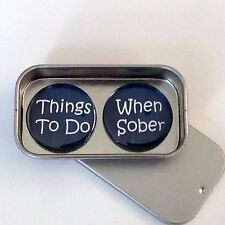 Fun Alcohol Inspired Gift Magnet Gift Set with Gift Tin, Things To Do When Sober
