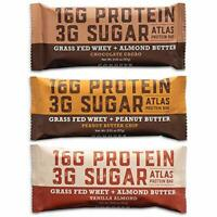 Gluten Free and Non-GMO Grass-Fed Whey Protein Bar 3 Assorted Flavor (9-Pack)