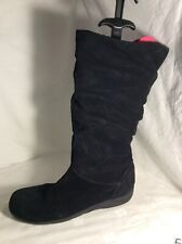 FOOTGLOVE Ladies Black Suede Mid Calf Boots Size 6.5