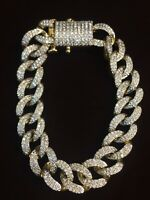 Pave 4,75 Cts Runde Brilliant Cut Diamanten Cuban Link Armband In 585 14K Gold