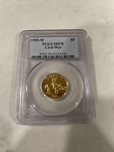 1995 W CIVIL WAR $5 Gold Coin PCGS MS 70 Perfect Coin Rare Only One On eBay
