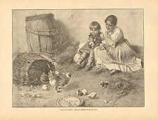 Hen, Chicken, Chicks, Kitten, Children, Vintage 1892 German Antique Art Print