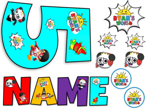 RYANS WORLD INSPIRED NAME AND NUMBER PERSONALISED CAKE EDIBLE ICING TOPPER