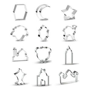 12Pcs Eid Mubarak&Ramadan Cookie Cutters DIY Moon Star Biscuit Cutters Cake Mold