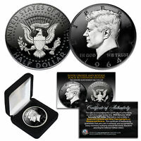 1964 BU Silver JFK Half Dollar 2-Sided BLACK RUTHENIUM & Silver Detail with BOX
