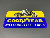 "VINTAGE GOODYEAR MOTORCYCLE TIRES 12"" X 6"" ADVERTISING METAL GASOLINE OIL SIGN!"