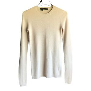 360 Cashmere Small Crew Neck Sweater Beige Women Pullover Knit Long Sleeve