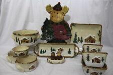 14pc Lot ST NICHOLAS SQUARE Heartland Christmas Winter Moose Serving Pieces