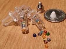 1 Miniature Glass Bottle Silver Cap Spiral Tube Vial Charm Pendant DIY Jewelry