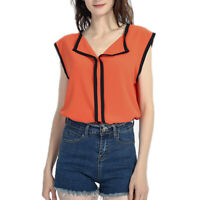 Women Sleeveless Chiffon Blouse Tops T-Shirt Ladies Office Shirt Fashion Casual