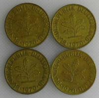 10 Pfennig 1970 D F G J Kompletter Satz