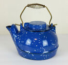 Vintage Blue Enameled Speckled Cast Iron Tea Kettle Made In The USA
