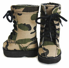 """Camo Combat Boots for American Girl Boy 18"""" Doll Clothes Shoes"""
