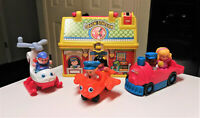 Fisher Price Little People Train, Helicoptor, Airplane with figures and case