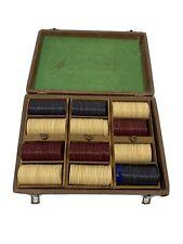 Vintage Bakelite Poker Chips w/ Case