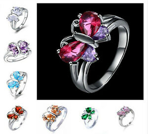 Amethyst Aquamarine Sapphire Butterfly Ring Band US Size 5 - 11 Free Gift Box