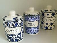 Porzellan Vorratsdose Kaffee Tee Zucker Dose Coffee Tea Sugar Kobaltblau Weiß