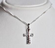 Echt 925 Sterling  Silber Kreuz Anhänger mit Zirkonia Nr 14A