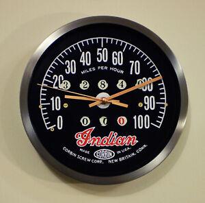 Indian Corbin Motorcycles Speedometer Style Wall Clock,  Retro 1930's Style.