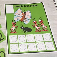 Insects - Ten frame Mat Laminated Activity Set - Teaching Supplies