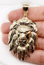 """Mens 10K Solid Yellow Gold Lion Head Face Pendant Charm 8.4 Grams, 2.48"""" Large"""