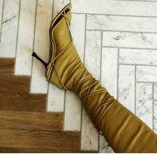 Celine Naked Wrap Lace Up Sandals Mustard Yellow Fall'18 Phoebe Philo sz 40 New