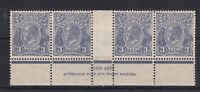 G288) Australia 1929 KGV 3d blue SM wmk P13½ x 12½ Die II Ash imprint strip of 4