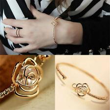 Fashion Women Rose Flower Gold Filled Cuff Bangle Crystal Rhinestone Bracelet