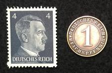 Authentic Nazi 3rd Reich HITLER Stamp WORLD WAR 2 and Antique German Coin