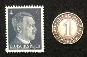 Authentic German Stamp WORLD WAR 2 and Antique German Coin
