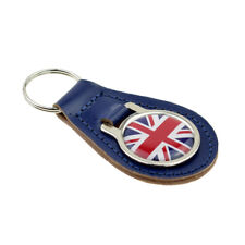 Union Jack Design Blue Bonded Leather Key Ring XKFR037
