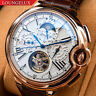 Mens Automatic Mechanical Watch - Rose Gold White Dial Brown DIASTERIA 3109