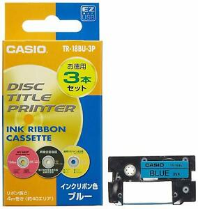 CASIO disc title printer blue ink ribbon three TR-18BU-3P from JAPAN